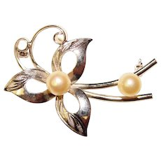 Gorgeous Sterling & Akoya Cultured Pearl Vintage Pin Brooch