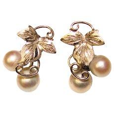 Fabulous STERLING & Gray Cultured Pearl Vintage Screw Back Earrings