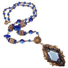Fabulous ART DECO Blue Glass Necklace