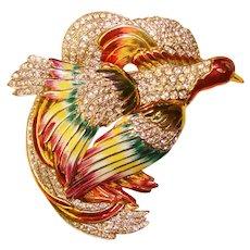 Fabulous HUGE BIRD Painted Enamel Rhinestone Vintage Brooch
