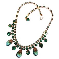Fabulous PEACOCK COLORS Vintage Aurora Rhinestone Necklace