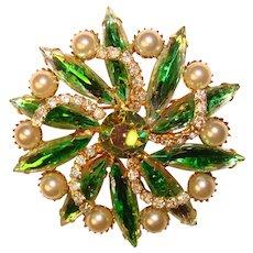 Fabulous GREEN GIVRE Pearl Rhinestone Vintage Brooch
