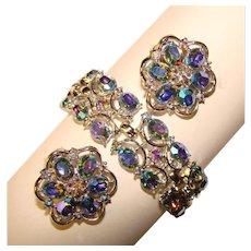 Fabulous TRIFARI Signed Blue Aurora Rhinestone Vintage Bracelet Set
