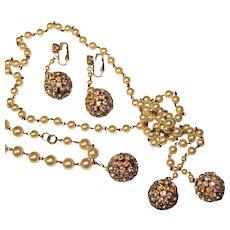 Fabulous Vintage AURORA RHINESTONE Sphere Lariat Necklace Set