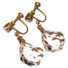 Gorgeous ART DECO Crystal Drop Vintage Earrings