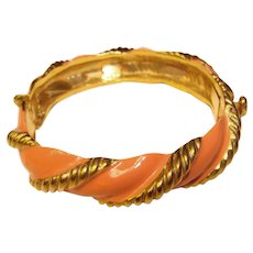 Beautiful ORIGINAL by ROBERT Vintage Enameled Hinged Bangle Bracelet