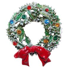 Awesome ART Signed Christmas Wreath Rhinestone Brooch - with Enamel Paint