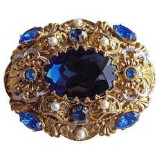 Gorgeous WEST GERMANY Blue Rhinestone Pin Brooch