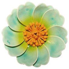 Awesome 1960s Flower Power Blue Flower Enamel Vintage Brooch