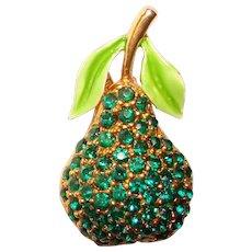Awesome GREEN RHINESTONE Pear Fruit Shaped Vintage Brooch