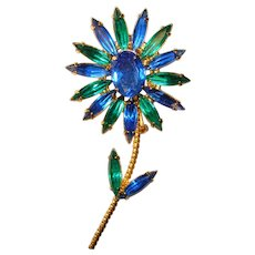 Fabulous FANCY FLOWER Blue & Green Rhinestone Vintage Brooch