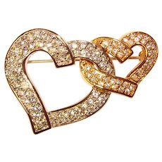 Gorgeous SWAROVSKI Signed Joined Hearts Rhinestone Brooch - Swan Mark