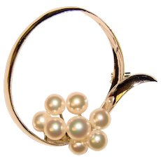 Fabulous TASAKI Sterling Multiple Pearl Vintage Brooch
