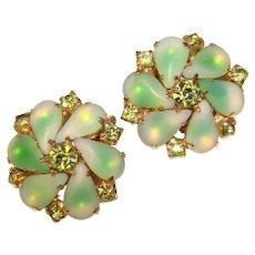 Fabulous GREEN FROST GIVRE Glass & Green Rhinestone Vintage Clip Earrings