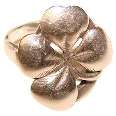 Gorgeous STERLING Clover Design Vintage Ring