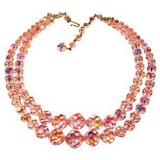 Fabulous Laguna PINK AURORA CRYSTAL 2 Strand Vintage Necklace