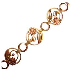 Fabulous 1940's ROSE & YELLOW Gold Filled Flower Design Vintage Bracelet