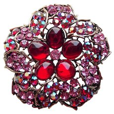 Gorgeous WEISS Signed Red & Pink Rhinestone Vintage Brooch