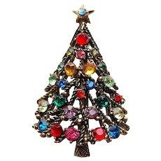 Fabulous HOLLYCRAFT Signed Rhinestone Christmas Tree Vintage Brooch