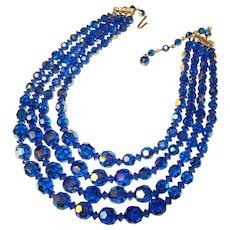 Fabulous CAPRI BLUE Aurora Crystal 4 Strand Vintage Necklace