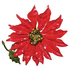 Awesome POINSETTIA Enamel Huge Flower Power 1960s Vintage Brooch