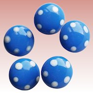 Tiny BLUE GLASS Polka Dot Vintage Buttons - For Doll Projects