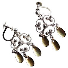 Gorgeous NORWEGIAN SOLJE 830 Silver Vintage Earrings - Signed Ivar T Holth - Norway