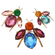 Fabulous ADELE SIMPSON Winged Insect Set Of Brooches