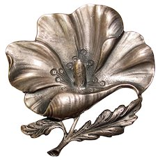 Gorgeous CINI STERLING Signed Vintage Flower Design Brooch