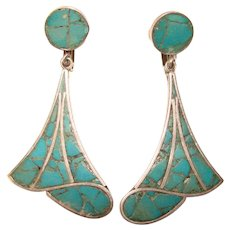 Fabulous MEXICAN STERLING Turquoise Stone Inlay Signed Vintage Dangle Earrings