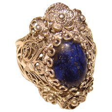 Fabulous STERLING Lapis Stone Ornate Design Ring