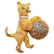 Fabulous HATTIE CARNEGIE Signed Cat With Ball Rhinestone Brooch