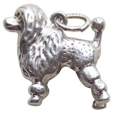 Sterling POODLE Dog Vintage Estate Charm - Signed Wells