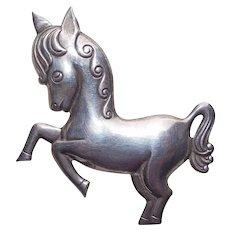 Sterling PRANCING PONY Horse Vintage Brooch - Signed Truart