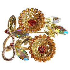 Fabulous WEISS Signed Rhinestone Flower Vintage Estate Pin Brooch - Yellow & Amber