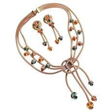 Fabulous AMBER ORANGE & GREEN Rhinestone Mesh Chain Vintage Necklace Set