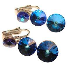 Fabulous WEISS Signed Blue Rivoli Rhinestones Vintage Dangle Clip Earrings