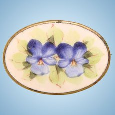 Small Vintage Enamel Pansy Mini Brooch - For Doll or Lapel