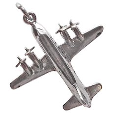 Signed WELLS STERLING Airplane Air Plane Mechanical Vintage Estate Charm - Movable Propellers