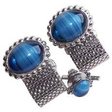 BLUE ART GLASS Swirled Stones Mesh Wrap Vintage Cufflinks Set