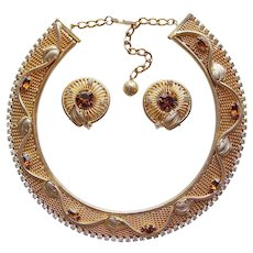 Fabulous HOBE Rhinestone Mesh Vintage Necklace & Earrings Set