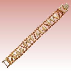 Gorgeous AMBER RHINESTONE & Satin Glass Vintage Bracelet