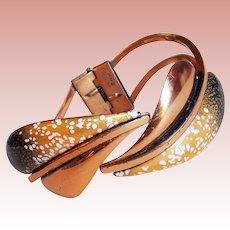 Fabulous MATISSE RENOIR Signed Enamel Copper Clamper Bracelet - Leaf Design