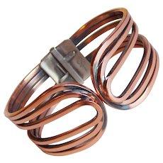 Gorgeous RAME Signed Copper Vintage Clamper Bracelet
