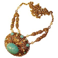 Fabulous West Germany Turquoise Glass Colored Stones Vintage Necklace