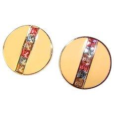 Gorgeous SWAROVSKI SAL Signed Enamel & Colored Square Rhinestones Clip Earrings