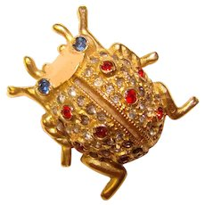 Fabulous CORO Signed Rhinestone SCENT BUG Vintage Figural Brooch