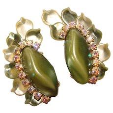 Gorgeous GREEN Pearlized Aurora Rhinestone Ear Climber Clip Earrings