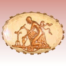 Gorgeous GOOFUS GLASS Lady & Bird Antique Pin Brooch