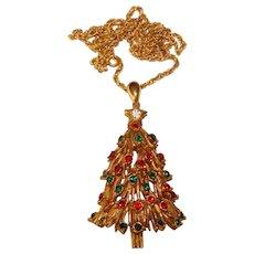 Fabulous FLORENZA Signed Christmas Tree Rhinestone Pendant Necklace
